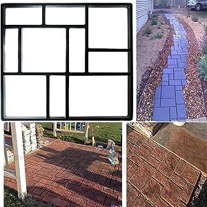 "Yosoo 10 Grid DIY Walkway Maker Mold Road Paving Cement Mould Personalized Garden Concrete Paving Mold Driveway Pathmate Stone Mold Plastic Black, 17.7"" x 15.7"" x 1.6"""