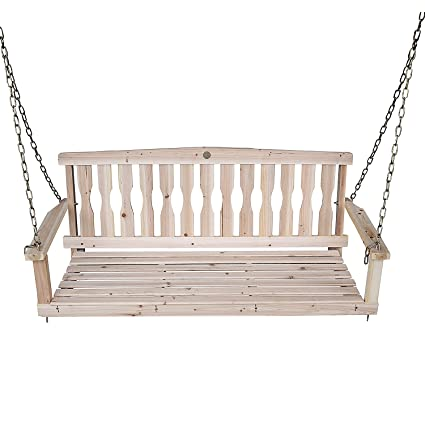 Amazon Com Songsen Outdoor Unfinished 4ft Wooden Porch Swing Chair