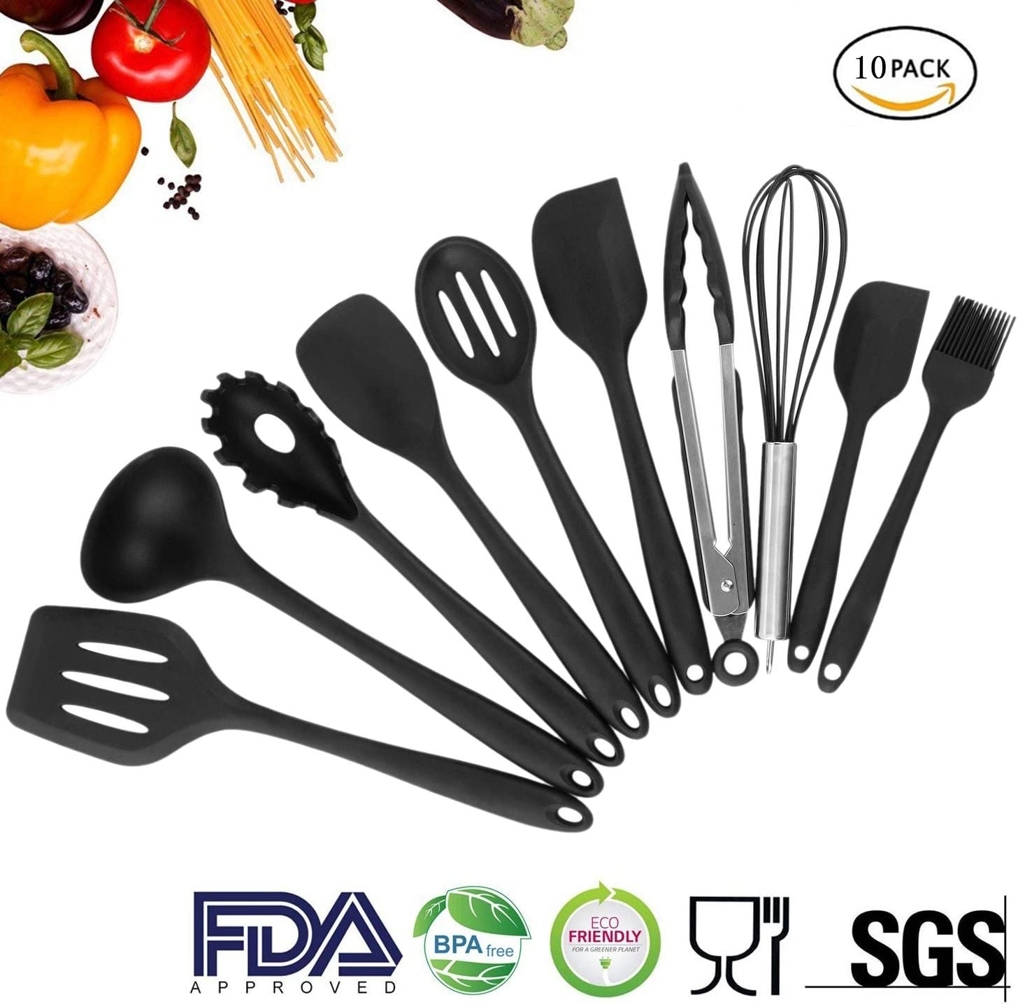 Young & Ming Silicona 10 Piezas Utensilios de Cocina Resistente al Calor Antiadherente Juego de Herramienta de Cocina: Amazon.es: Hogar