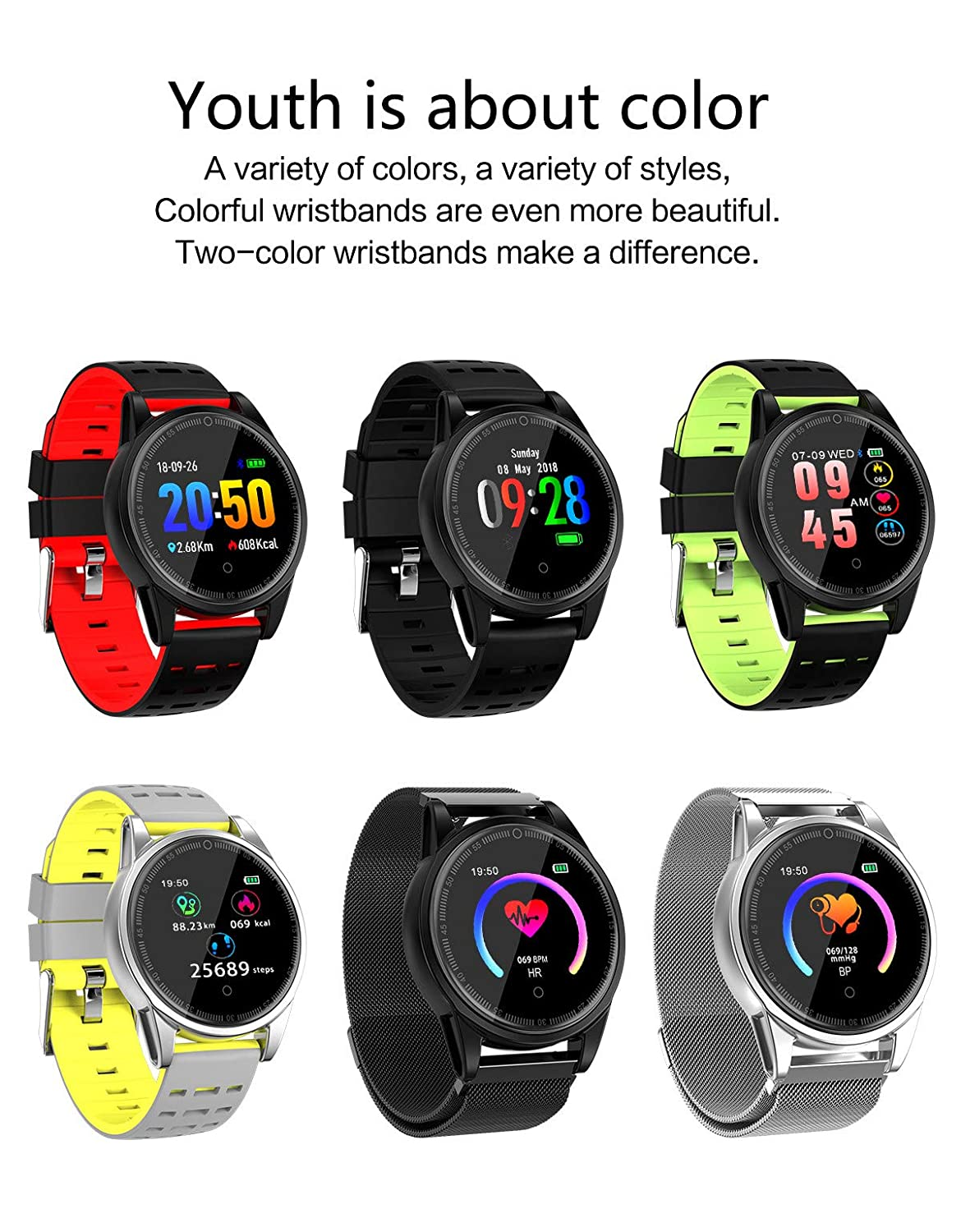 Amazon.com: Star_wuvi Heart Rate Activity Step Counter Music Control Smart Bracet for Kids Women Men: Watches
