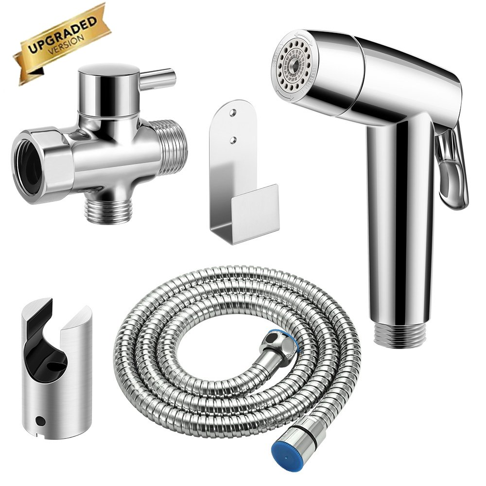 ALLOMN Cloth Diaper Sprayer Premium Stainless Steel Handheld Toilet Bidet Sprayer Kit with T-Valve/Metal Hose/Mounting Accessories for Toilet Seat Cleaning Bathroom Floors (Dual Spray)