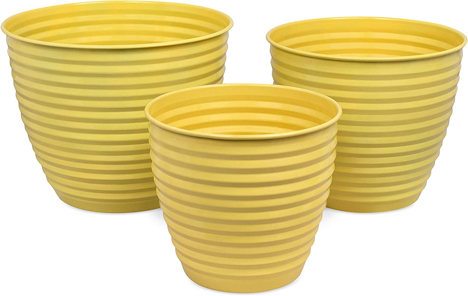 BirdRock Home Ribbed Planter Pot for Indoor or Outdoor Plant Flower – Set of 3 – Flowers Plants Trees Porch Garden Pots – Rust and Weather Resistant Set of 3 – Small, Medium, Large, Mellow Yellow