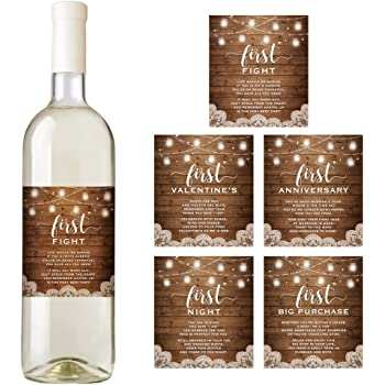 rustic wine bottle labels for a wedding gift wedding milestones wedding firsts bridal shower gift
