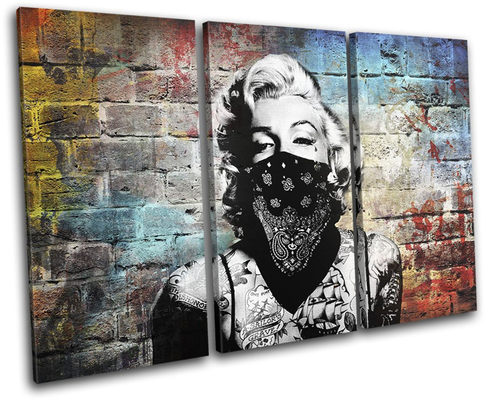 Bold bloc design marylin tattoo graffiti grunge urban 120x80cm treble canvas art print box framed picture wall hanging hand made in the uk framed and
