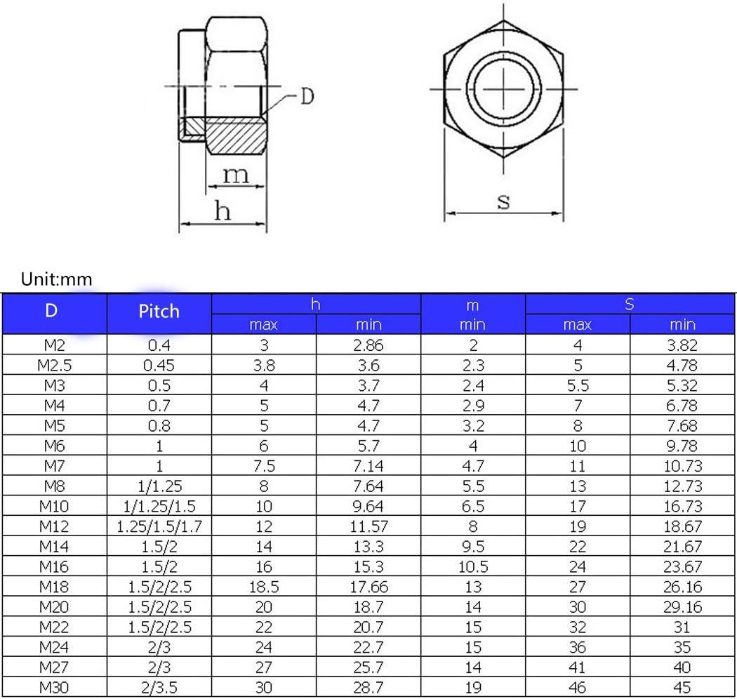 M14 Tuerca de seguridad hexagonal m/étrica 304 Inserto de nylon de acero inoxidable 10 piezas