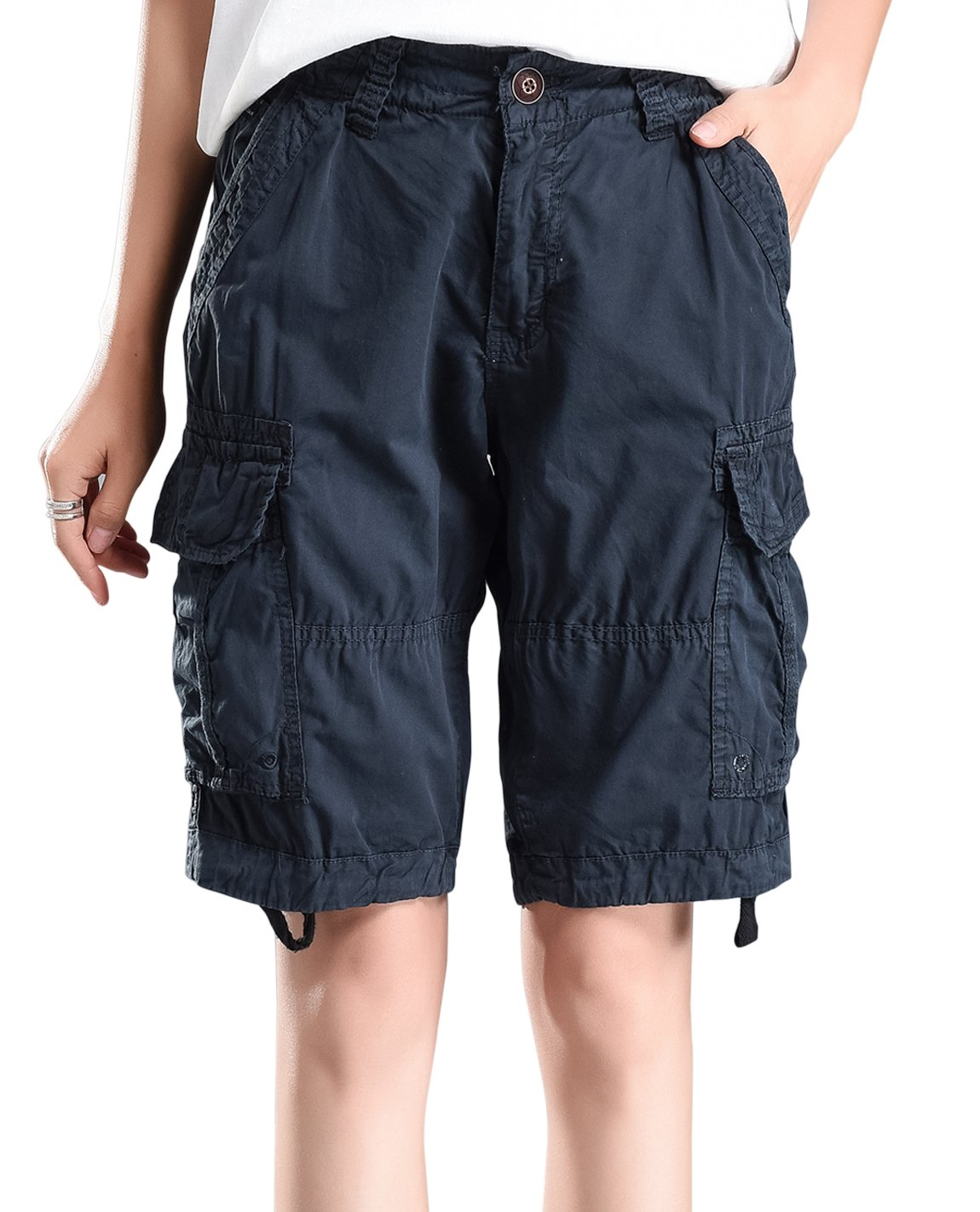 HOW'ON Women's Cotton Casual Relaxed Fit Plus Size Multi-Pockets Bermuda Cargo Shorts Dark Blue M