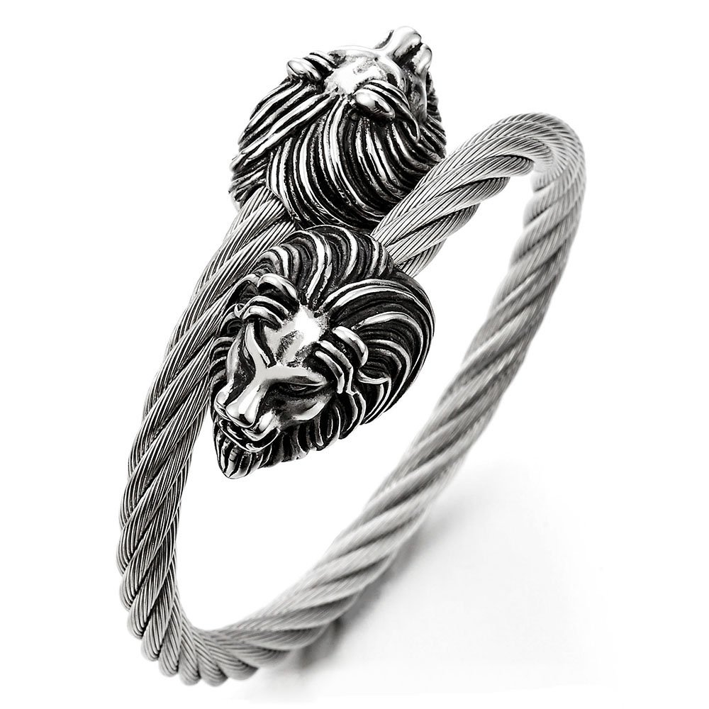 Mens Elastic Adjustable Lion Head Bangle Bracelet Stainless Steel Twisted Cable Cuff Bracelet COOLSTEELANDBEYOND MB-1057-CA