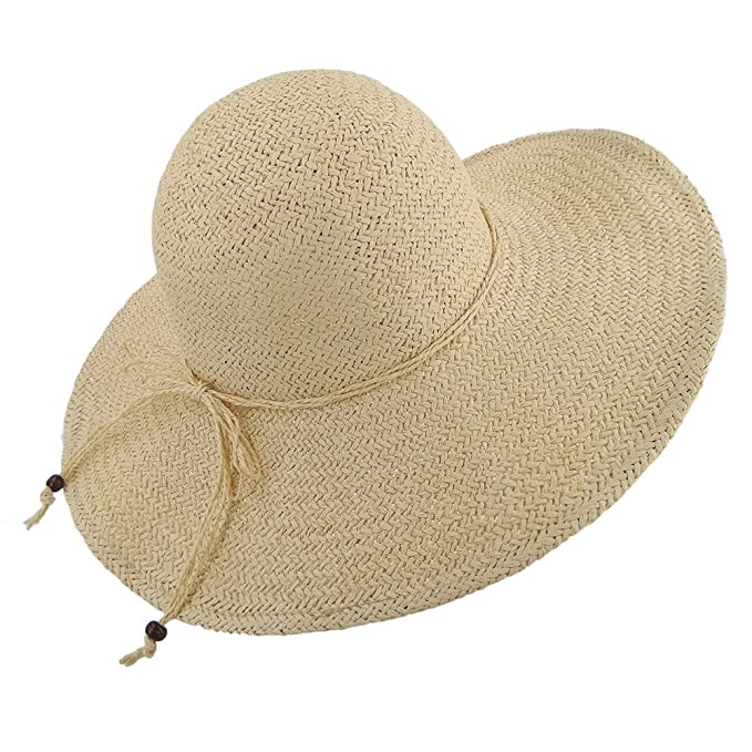 21d345218f9 LETHMIK Summer Beach Straw Hat Womens Wide Brim Floppy Packable Sun Hat 2018  Beige