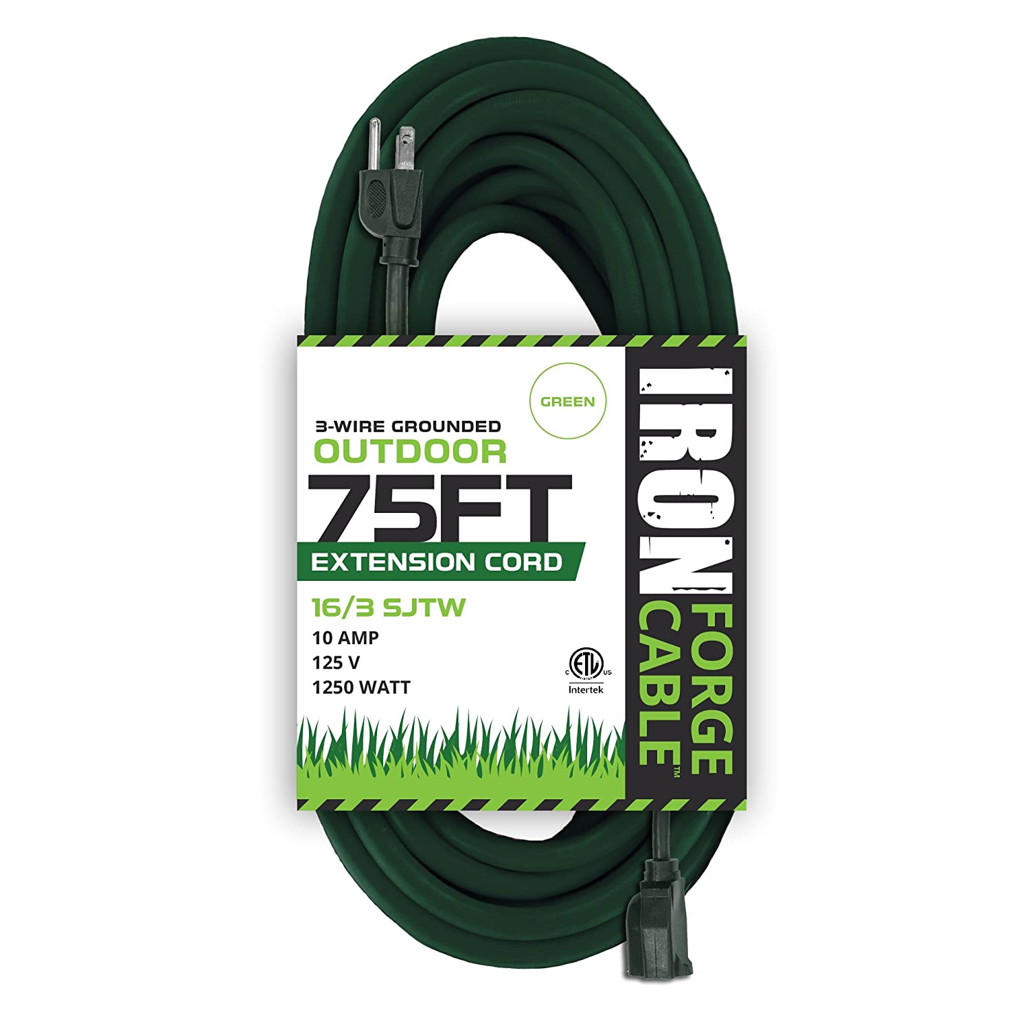 75 Foot Outdoor Extension Cord - 16/3 SJTW Heavy Duty Green Extension Cable with 3 Prong Grounded Plug for Safety - Great for Garden and Major Appliances Iron Forge Cables IFC-163G75