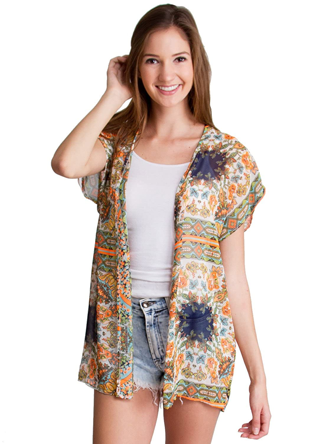 Woman Orange Floral Motif Short Sleeve Light Sheer Cardigan