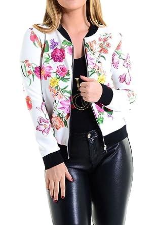 Islander Fashions Mujer con Estampado Floral Bomber Jacket Ladies Manga Larga con Cremallera Biker Chaqueta Blazer SM, ML