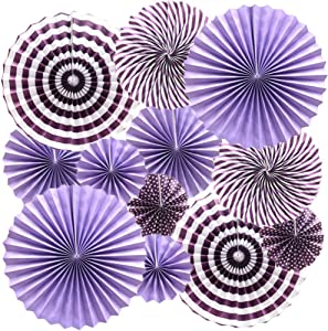 Cdycam Hanging Paper Fans Multi-Color Vibrant Party Decorations, Round Pattern Paper Garlands for Baby Shower/Party/Wedding/Birthday/Festival/Christmas/Event and Home Decor , Set of 12 (purple)