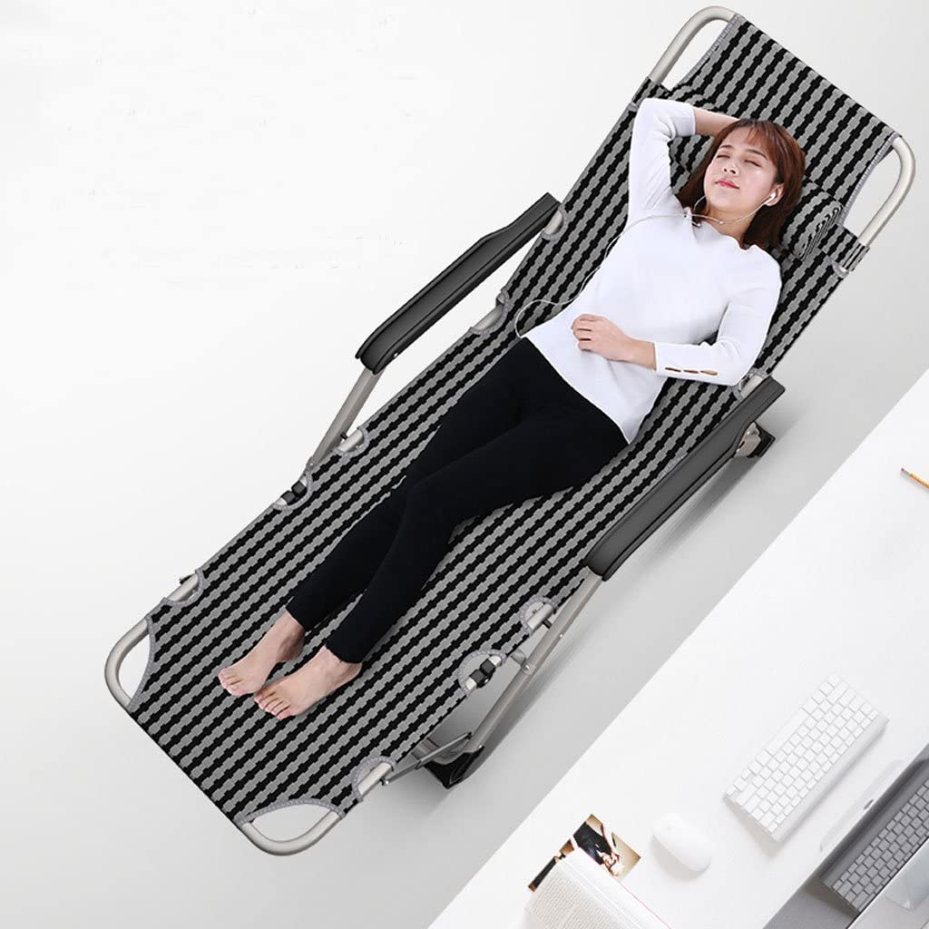 ChangDe-- Portable Folding Lounge Chair Backrest Household Balcony Office Multifunctional Bed Beach Lunch Break Siesta Adult Old Man Lattice (Color : B) B