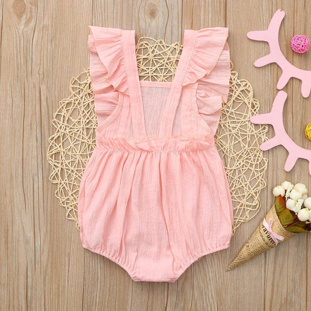 LNGRY Baby Romper,Toddler Newborn Kids Girls Summer Solid Color Sleeveless Backless Snap-up Romper Bodysuit