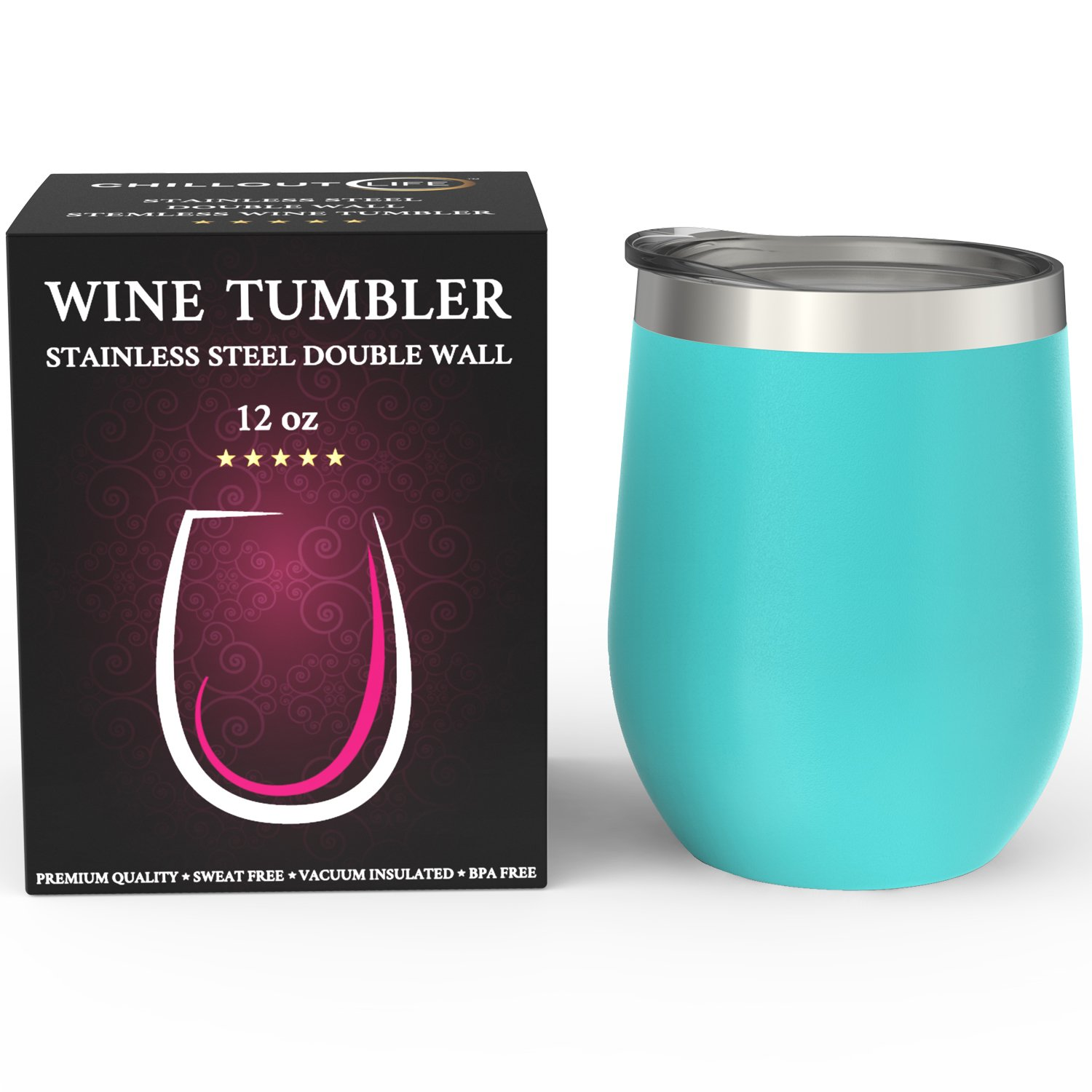Stainless Steel Stemless Wine Glass Tumbler with Lid, 12 oz   Double Wall Vacuum Insulated Travel Tumbler Cup for Coffee, Wine, Cocktails, Ice Cream   Sweat Free, Unbreakable, BPA Free, Powder Coated by CHILLOUT LIFE (Image #5)