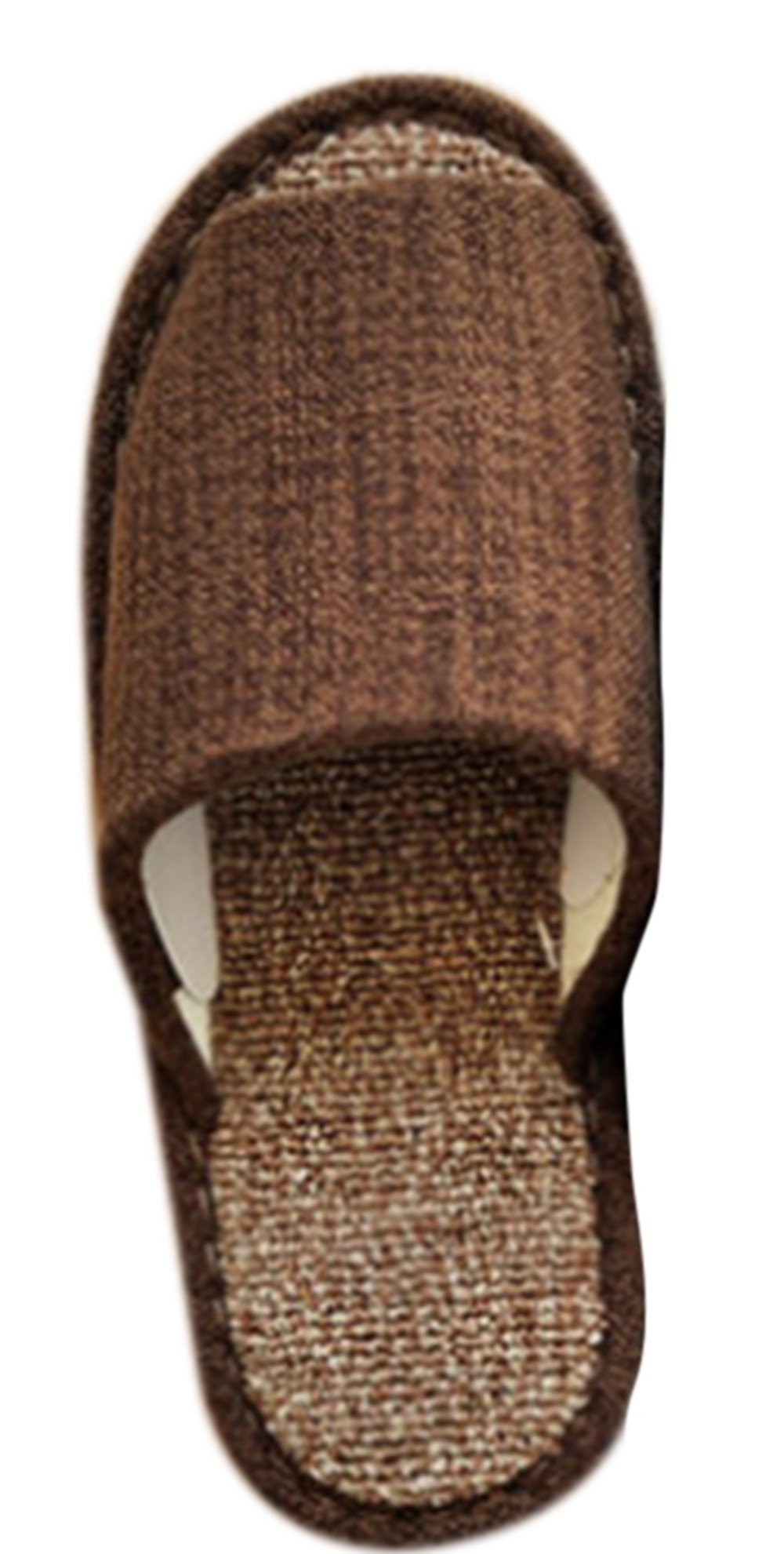 KISS GOLD(TM Plain Coloured Linen Open-Toes House Slippers Brown