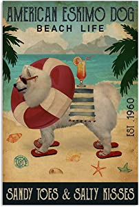 Vintage Beach Life Sandy Toes & Salty Kisses American Eskimo Dog Poster Wall Art Print Decor Office Bedroom Living Room 12x18 Inches
