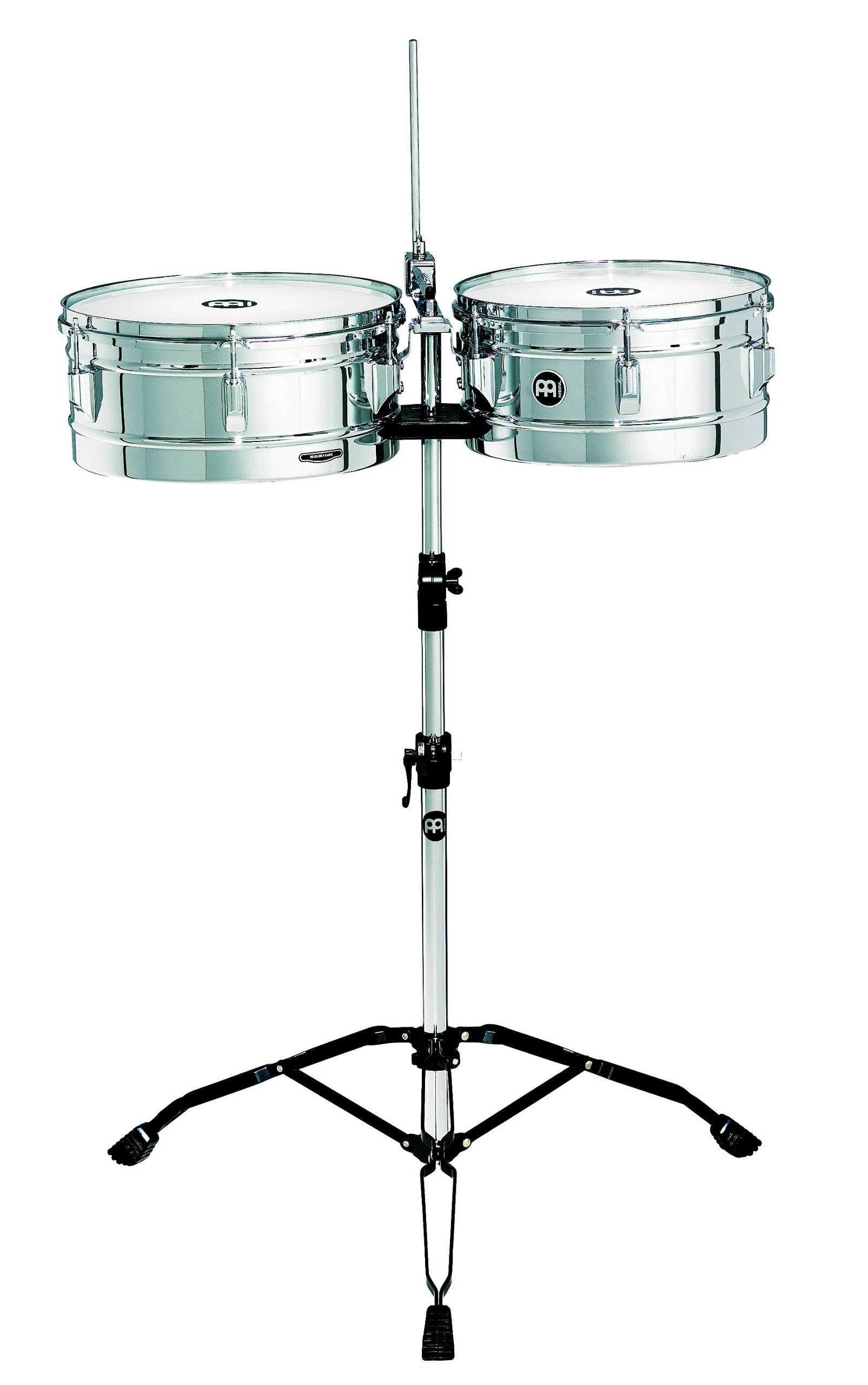 Meinl Percussion HT1314CH Headliner Series Steel Timbales With Chrome Finish and Stand by Meinl Percussion
