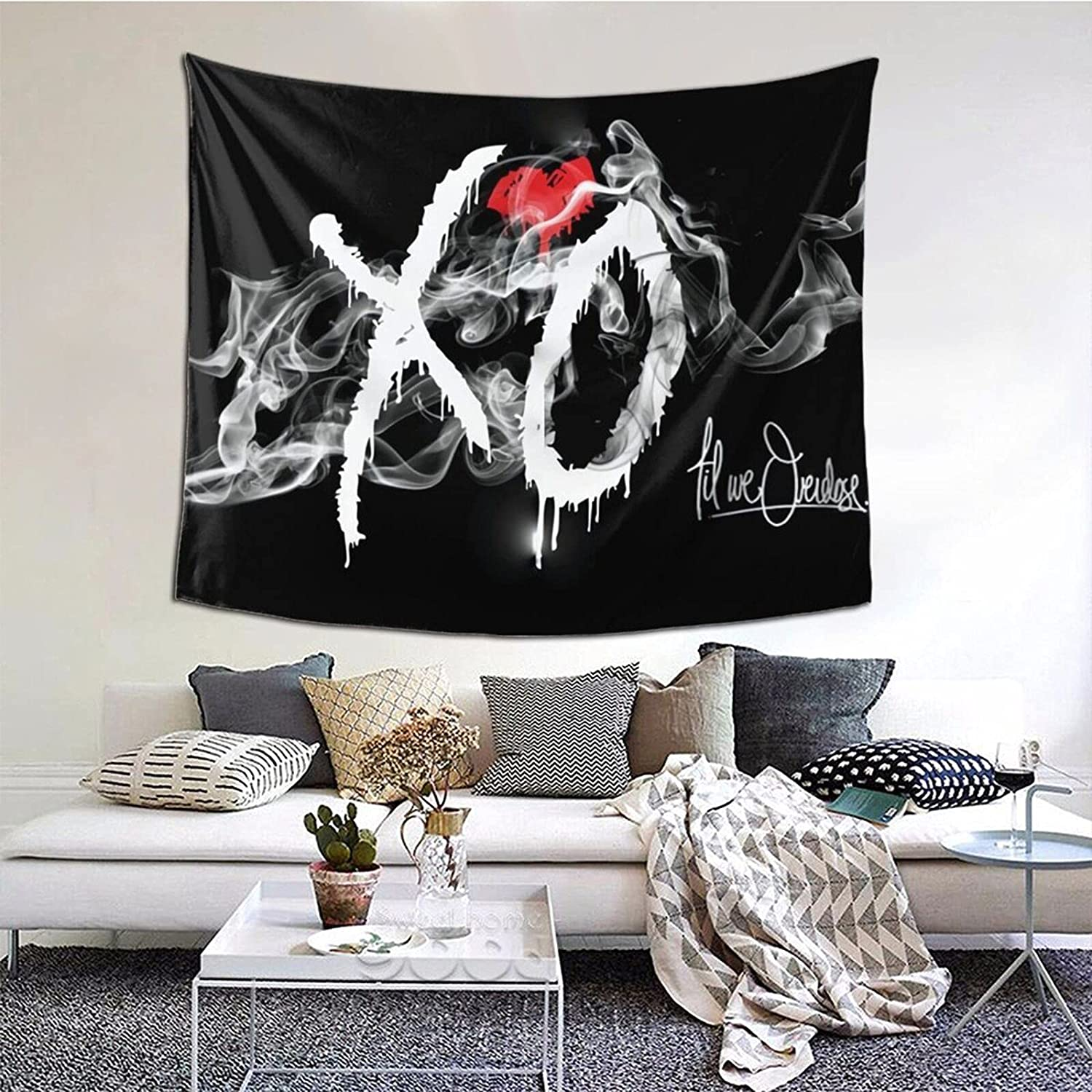 W_Eeknd X-O Tapestry Tv Series Tapestries Home Decor Wall Hanging For Bedroom Decoration Fashion Wall 60*51 Inch