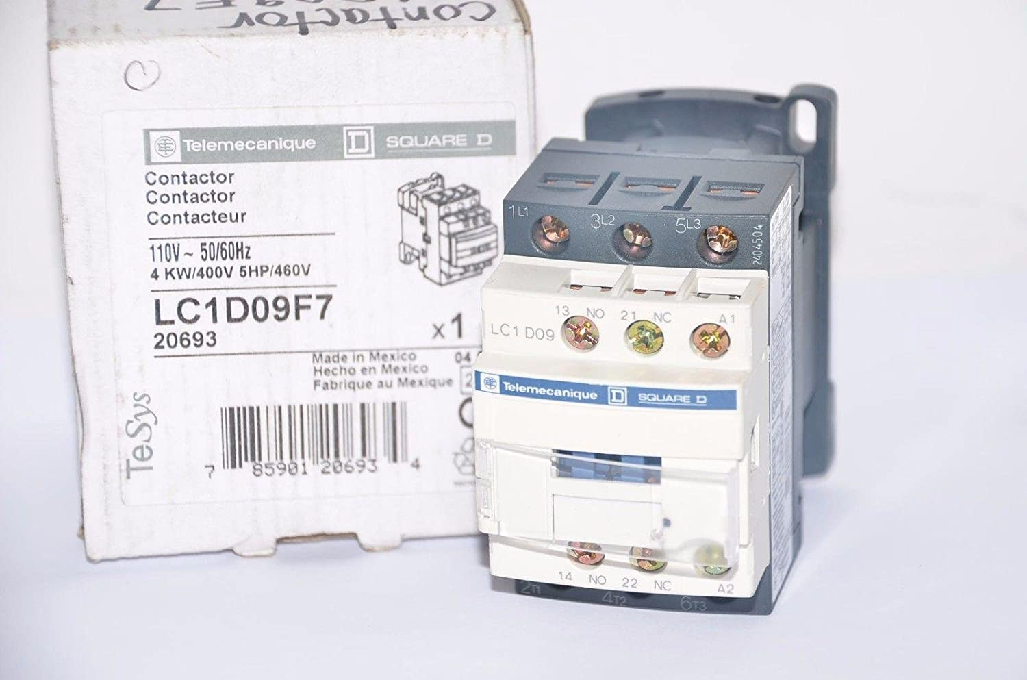 SCHNEIDER ELECTRIC LC1D09F7 CONTACTOR 3PST-NO, 110VAC, 20A, DIN RAIL