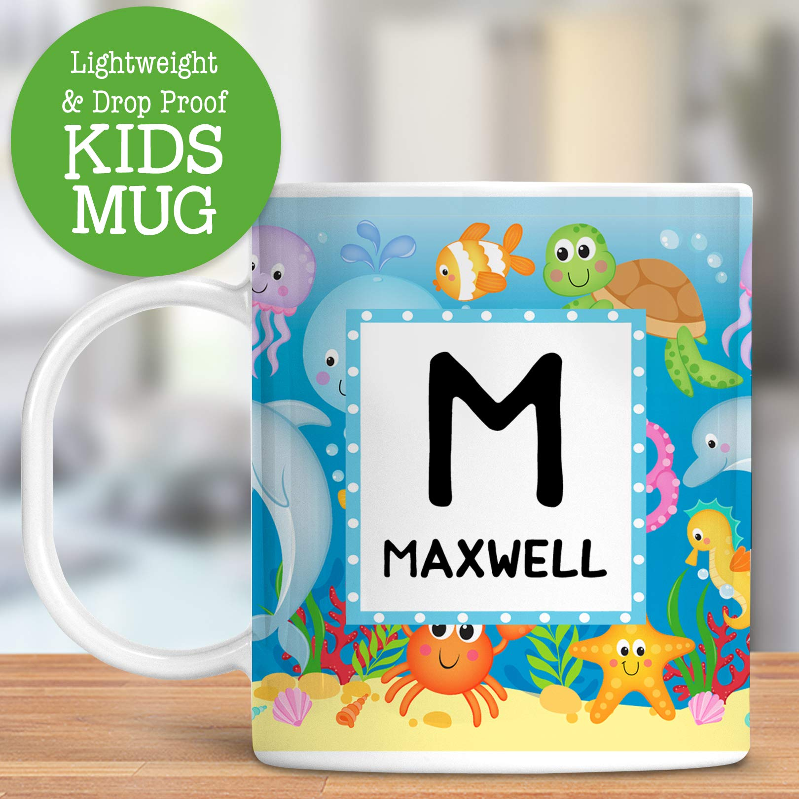 Kids Personalized Mug Sea Life Ocean Animals Customize with Name and Initial Lightweight and Drop Proof | Dishwasher Safe Child Toddler Unbreakable Cup BPA Free