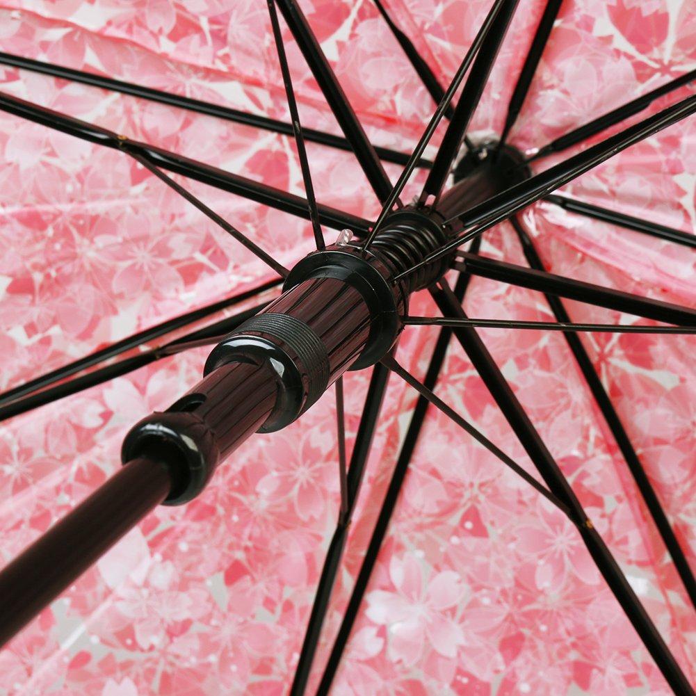 Claro flor de cerezo y la hoja de burbuja c/úpula forma de viaje lluvia paraguas para se/ñora mujeres Paraguas transparente autom/ático abierto