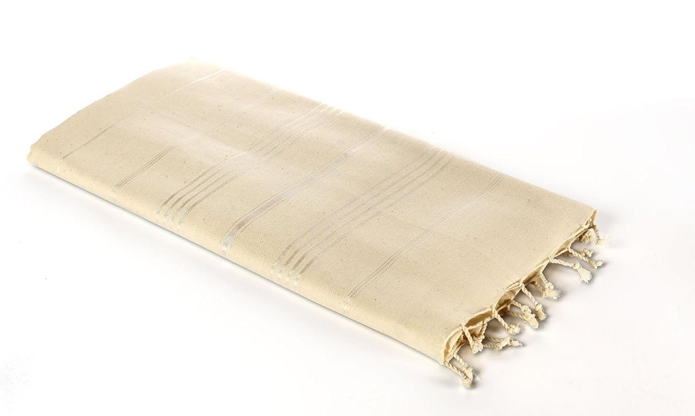 Carenesse Toalla de Hammam ELEGANCE beige, 100% Algodón sin blanquear , 100 x 170 cm, extra ancho, Toalla Baño Turco, Toalla de Sauna, Toalla de Playa, ...