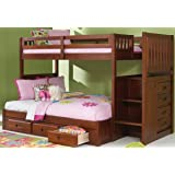 Amazon Com Twin Over Full Loft Bed In Merlot Finish