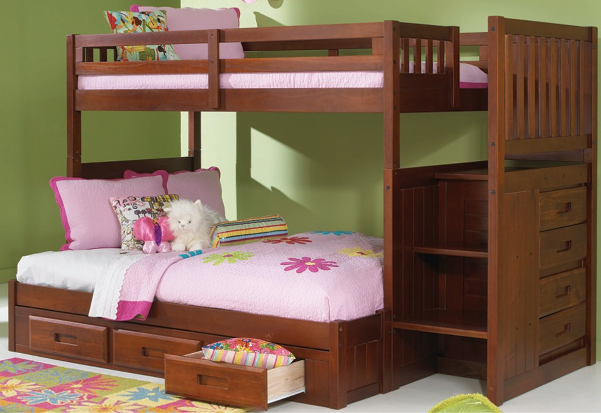 Mission Twin Over Full Staircase Bunk Bed with 3 Drawers, Desk, Hutch, Chair and 5 Drawer Chest in Merlot Finish