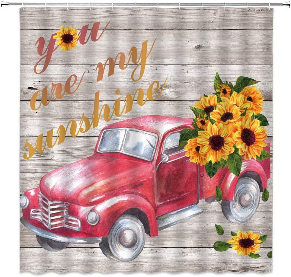 AMHNF Farmhouse Sunflower Shower Curtain Vintage Rustic Red Truck Sunflower 'You are My Sunshine' Letters on Wooden Bathroom Decor Quick Dry Fabric Curtain with 12 Hooks,70x70 Inch,Red Yellow Beige