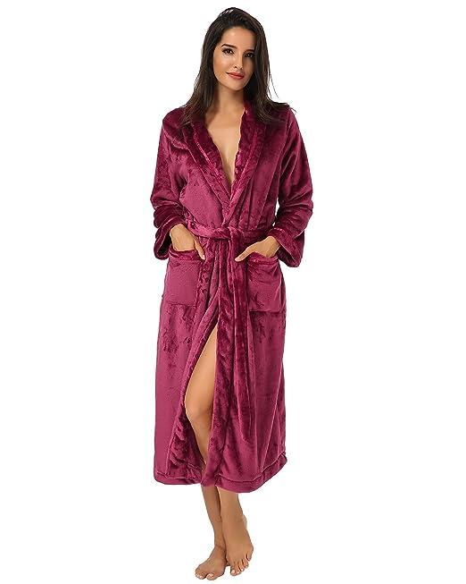 Auxo Pijamas Invierno Mujer Vestido Ropa de Dormir Pelusa Mangas Larga Correa Una Pieza Bolsillos Sólido