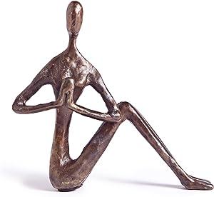 Danya B. ZD9082 Yoga Metal Art Shelf Décor - Yoga Twist Female Figurine Bronze Sculpture