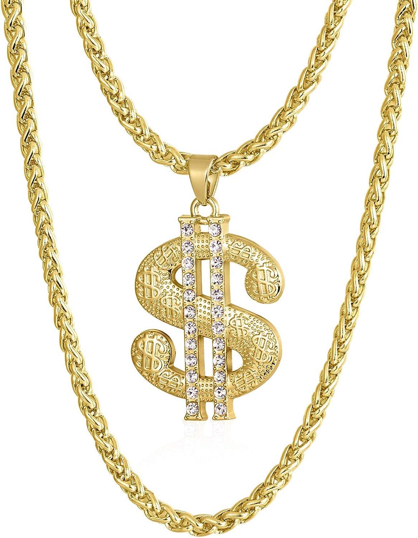 Cadena de oro para hombre con colgante de signo de dólar