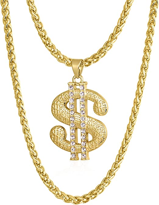 Gold Chain For Men With Dollar Sign Pendant Necklace Style A 24