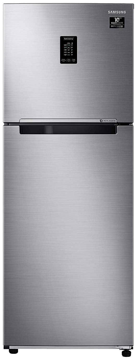 Samsung 336 L 2 Star Inverter Frost-Free Double Door Refrigerator (RT37T4632SL/HL, Real Stainless, Convertible)