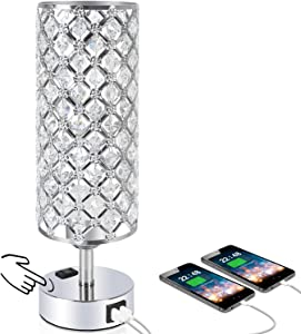 Touch Control Crystal Table Desk Lamp with Dual Fast Quick USB Charging Ports and AC Outlet, Acaxin 3-Way Dimmable Accent Bedside Light with Bulb, Nightstand Lamps for Bedroom, Living Room,Guest Room