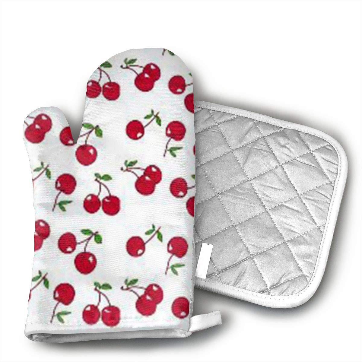 KEIOO Deep Red Cherry Pattern Oven Mitts and Potholders Heat Resistant Set of 2 Kitchen Set Non-Slip Grip Oven Gloves BBQ Cooking Baking Grilling