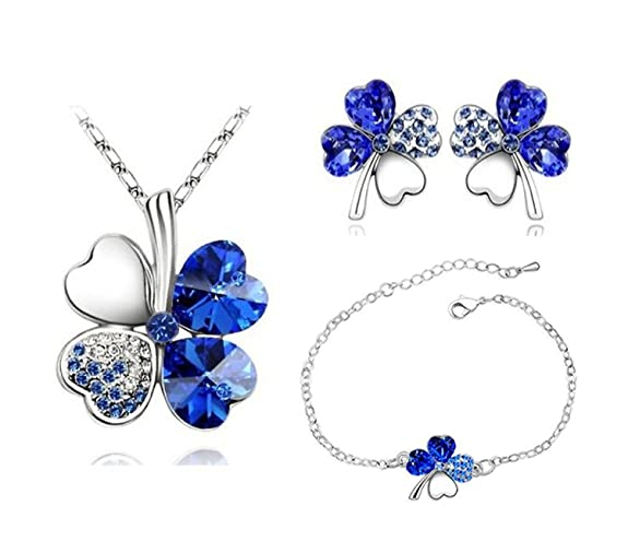 Habors 18K White Gold Plated Persian Blue Austrian Crystal Astra Jewelery Set Girls' Jewellery Sets at amazon