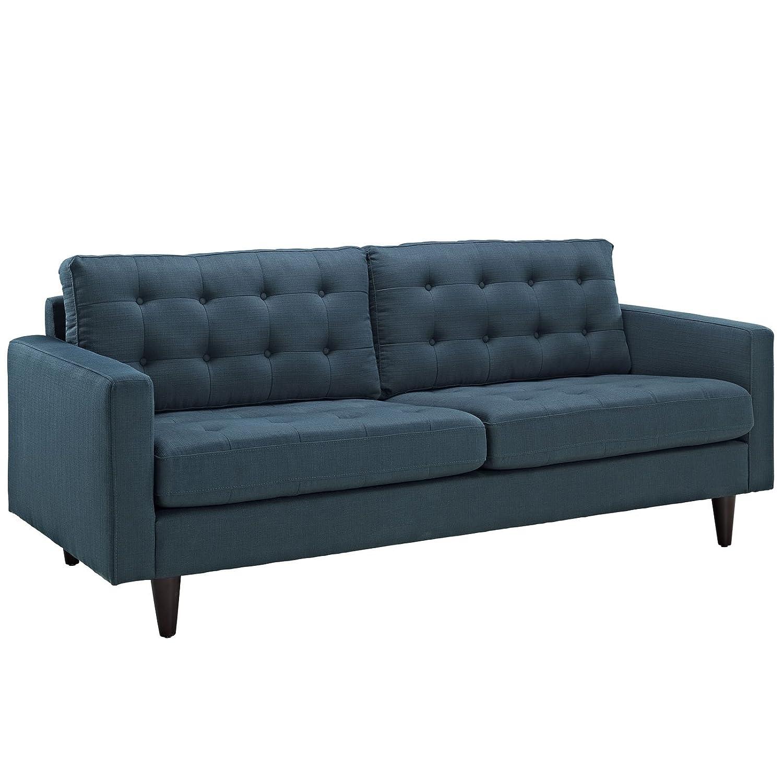 Modway EEI-1314-AZU Empress Mid-Century Modern Upholstered Fabric Sofa and Two Armchair Set Azure