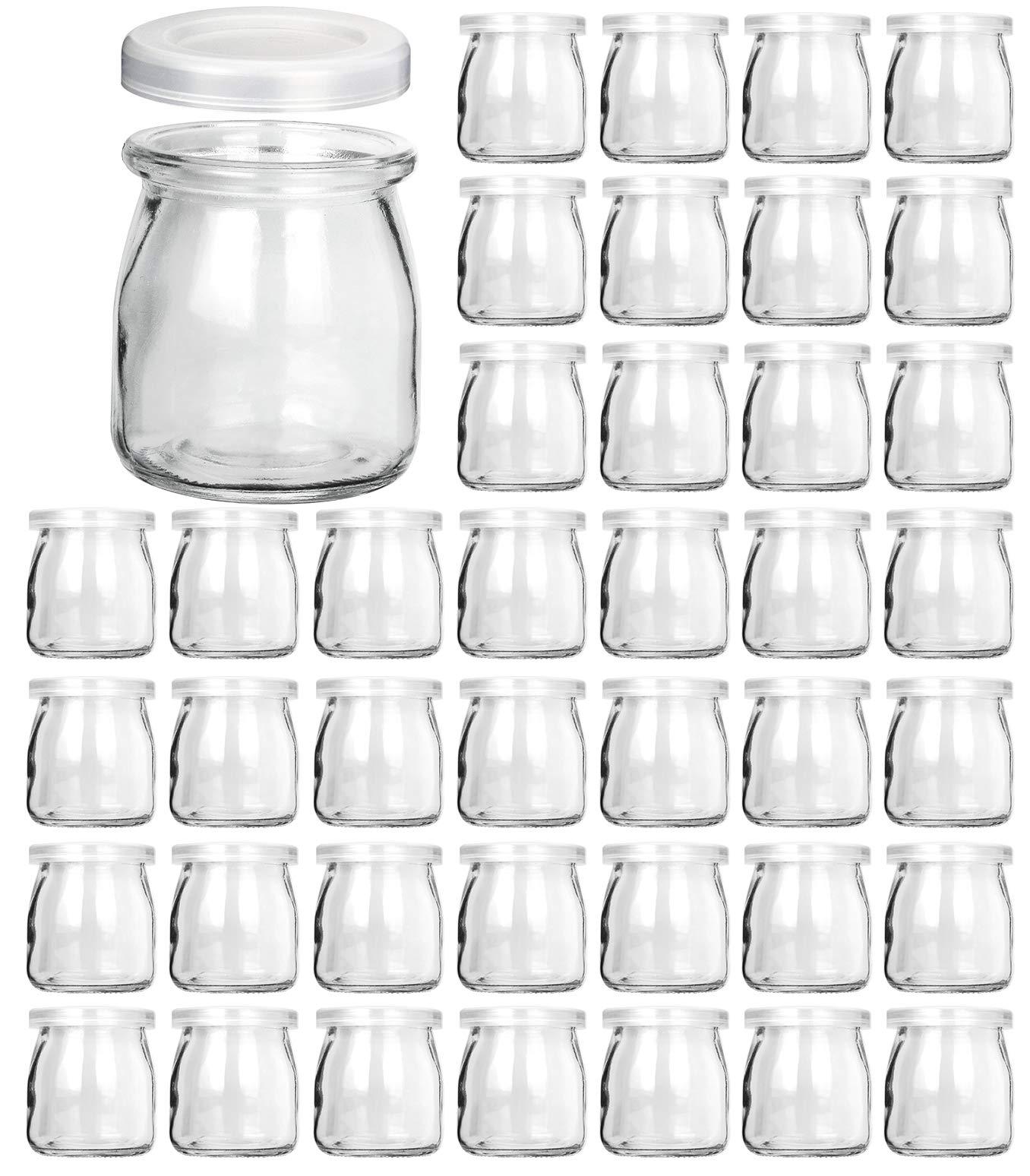 Glass Jars, KAMOTA 40 PACK 6oz Clear Yogurt Jars With PE Lids, Glass Pudding Jars Yogurt Jars Ideal for Jam, Honey, Wedding Favors, Shower Favors, Baby Foods (200ml) by KAMOTA