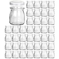 Glass Jars, KAMOTA 40 PACK 6 oz Clear Yogurt Jars With PE Lids, Glass Pudding Jars...