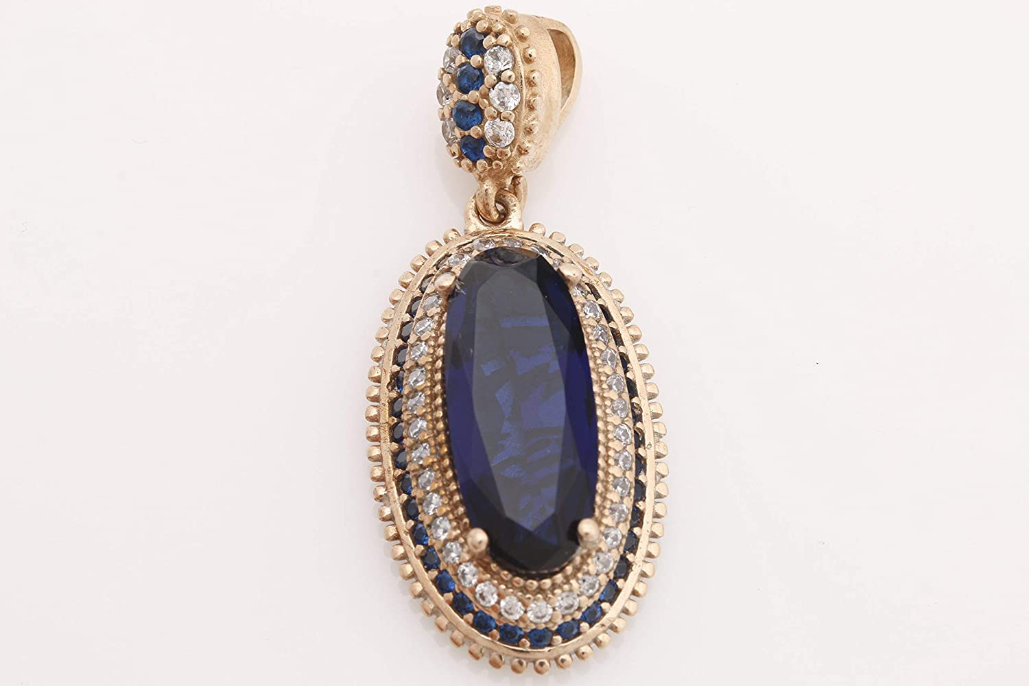 Turkish Handmade Jewelry Long Oval Shape Sapphire and Round Cut Topaz 925 Sterling Silver Pendant