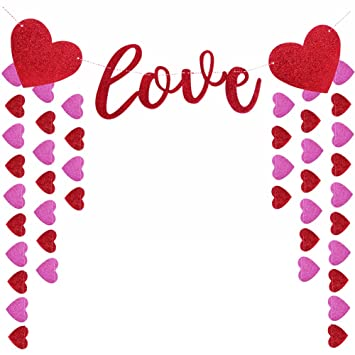 love heart banner happy valentines day garland bridal shower party decorations
