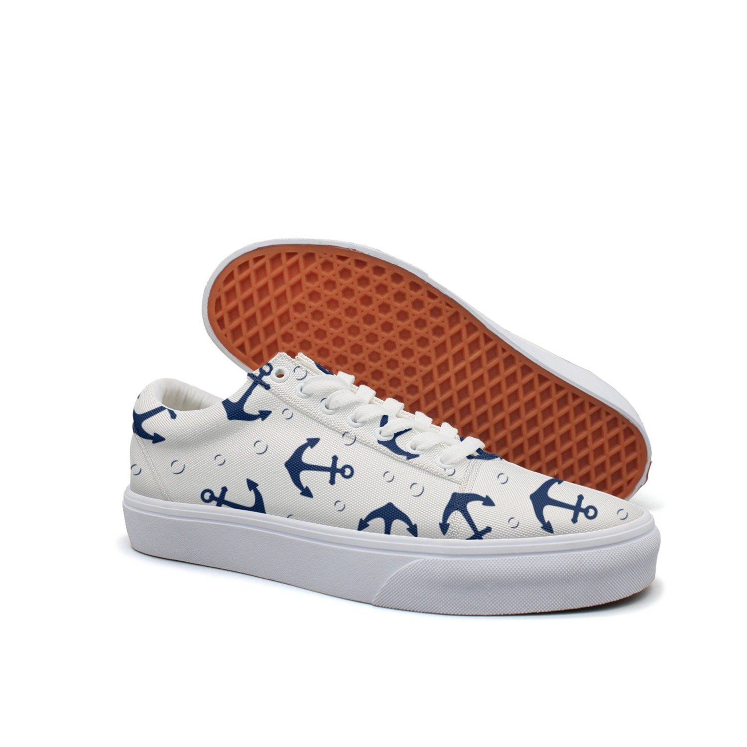 VCERTHDF Print Trendy Anchor Marine Pattern Low Top Canvas Sneakers