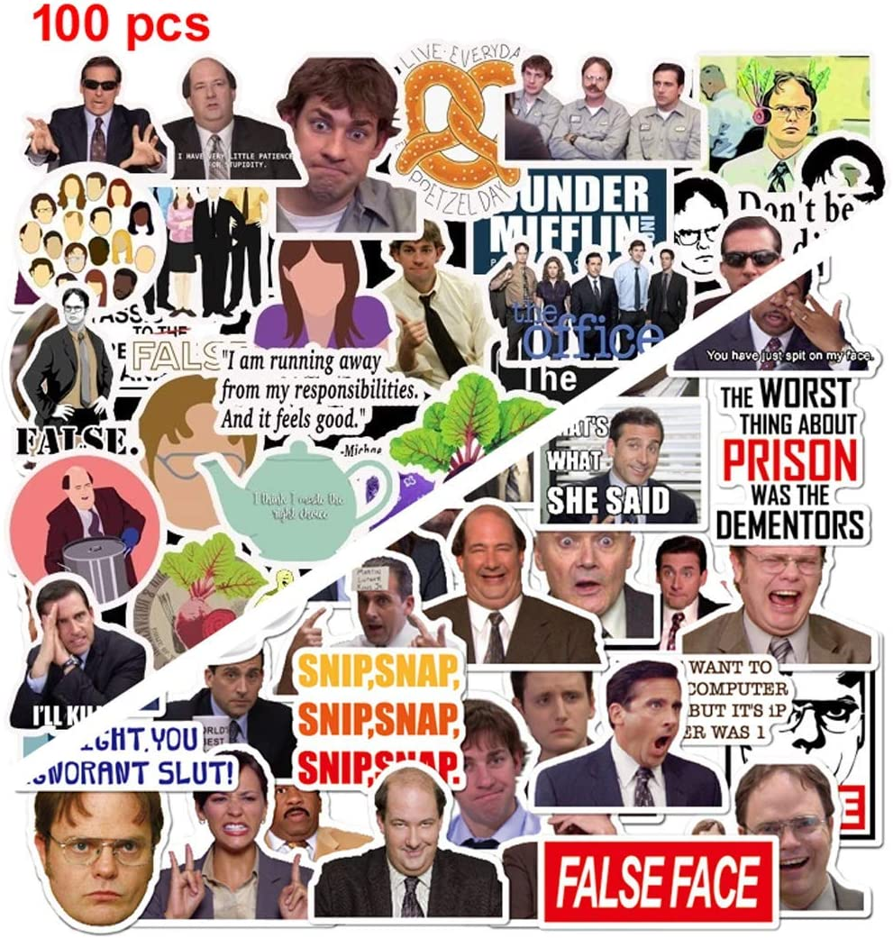 The Office Stickers Merchandise[100pcs] TV Show Premium Quote Vinyl Design with Mike Michael Scott Dwight Schrute Decals Jim Dunder Mifflin Kevin Malone for Laptop Computer Guitar Bumper Car Gift