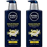Nivea Men Maximum Hydration 3-in-1 Nourishing Lotion - Body, Face, Hands - 16.9 oz. Pump Bottle - 2 Pack