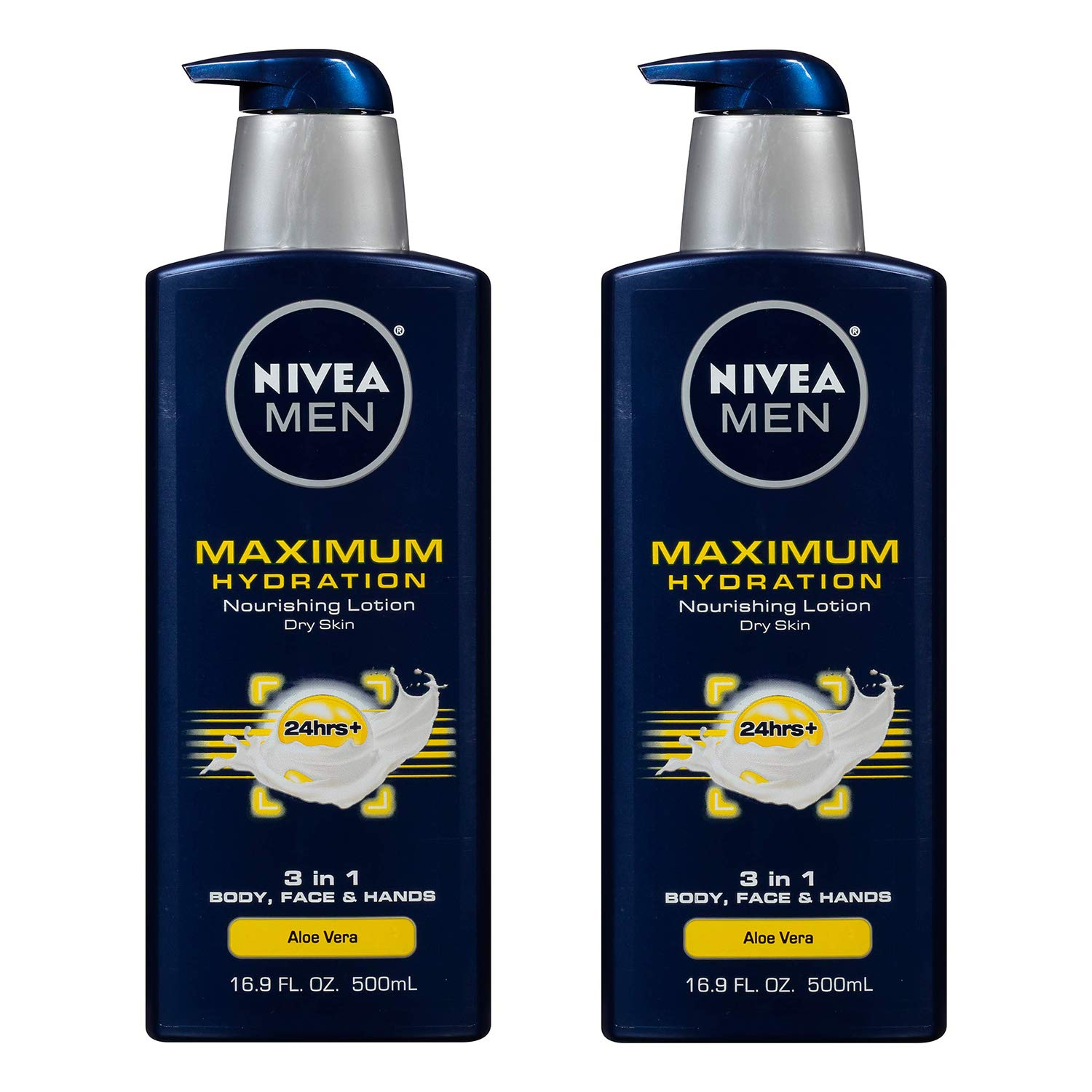 Nivea Men Maximum Hydration 3-in-1 Nourishing Lotion - Body, Face, Hands - 16.9 oz. Pump Bottle - 2 Pack: Sports & Outdoors