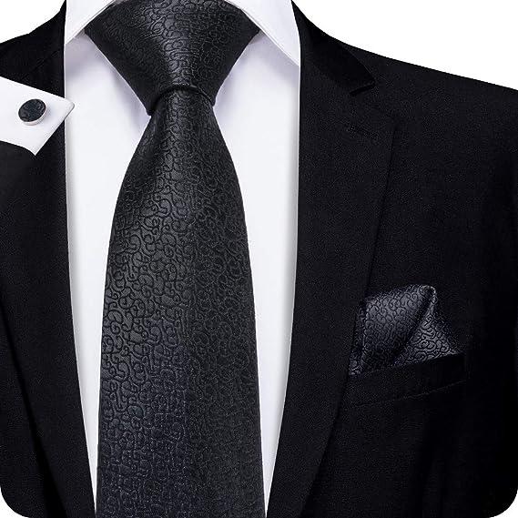 Hi Tie Mens Black Ties With Pocket Square Silk Tie With Cufflinks
