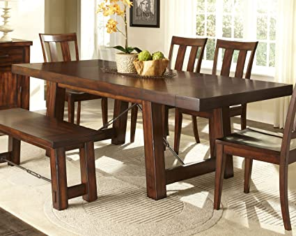 Beau Liberty Furniture Tahoe Trestle Dining Table In Mahogany Stain