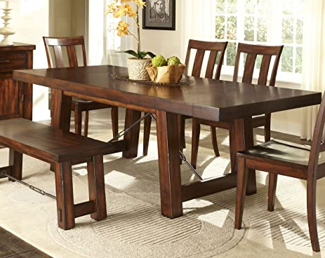 Awesome Liberty Furniture Tahoe Trestle Dining Table In Mahogany Stain